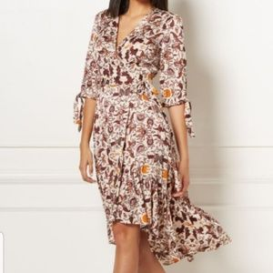 Eva Mendez Paisley Print Wrap Dress
